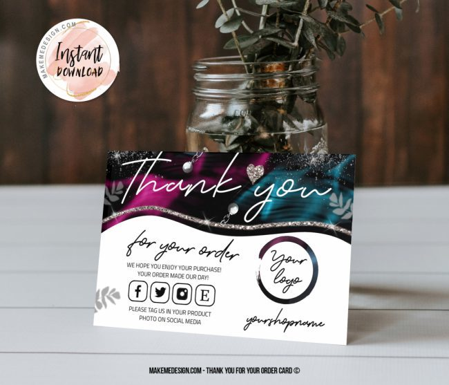 Purple Turquoise Thank You For Your Order, Small Business Insert card, Business Order Insert Template, Business Thank You Card Template, Thank You Card