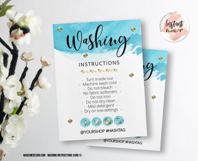 Blue Gold Washing Instructions, Printable Care Instructions Template, Instant Download, Clothing Care, T-Shirt Washing Instructions