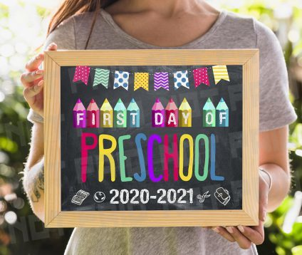 First Day of Preschool Sign Instant Download, First Day of Preschool Chalkboard Sign, Printable First Day Preschool Sign