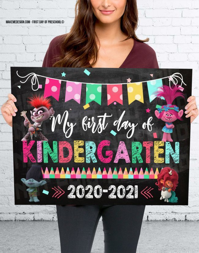 Trolls First Day Of Kindergarten, Trolls First Day Classes, Trolls Kindergarten Photo Prop, Trolls Kindergarten Sign, Trolls 2020 Kindergarten Year