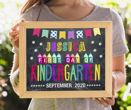 Customized First Day of Kindergarten Sign, Personalized Printable First Day, Back To School Sign, First Day of School Chalkboard Sign, Editable Kindergarten Sign