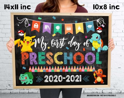 Pokemon First Day Of Preschool, Pokemon First Day Classes, Pokemon School Photo Prop, Pokemon School Sign, Pokemon 2020 School Year