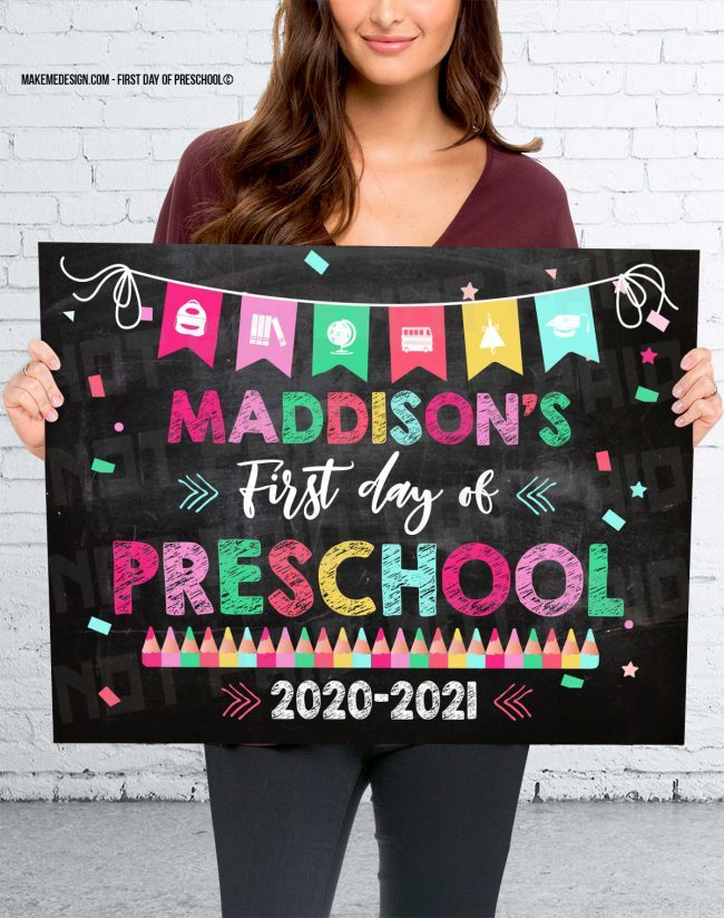 First Day Of Preschool,  Back To School Sign,  Instant Download,  First Day Of School,  First Day Preschool
