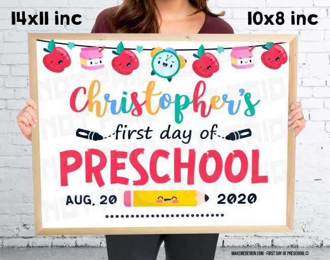First Day Of Preschool,  Day Of Preschool,  Sign For School,  Printable Sign,  Personalized Sign