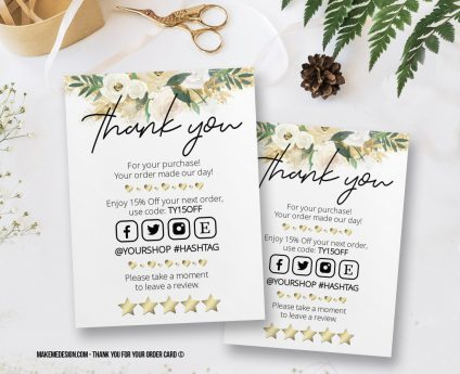 Flowers Thank You For Your Order, Thank You Card, Printable Insert Card Template, Ready To Print Thank You Card, Thank You Package Insert