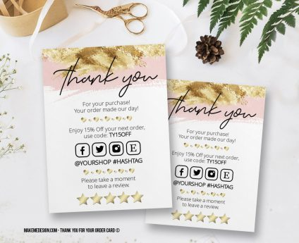Pink Gold Thank You For Your Order, Thank You Card, Printable Insert Card Template, Ready To Print Thank You Card, Thank You Package Insert