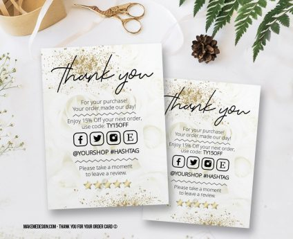 White Gold Thank You For Your Order, Thank You Card, Printable Insert Card Template, Ready To Print Thank You Card, Thank You Package Insert