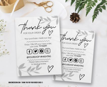 Minimalist Thank You For Your Order, Thank You Card, Printable Insert Card Template, Ready To Print Thank You Card, Thank You Package Insert