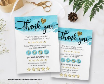 Blue Gold Thank You For Your Order, Thank You Card, Printable Insert Card Template, Ready To Print Thank You Card, Thank You Package Insert