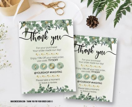 Greenery Thank You For Your Order, Thank You Card, Printable Insert Card Template, Ready To Print Thank You Card, Thank You Package Insert