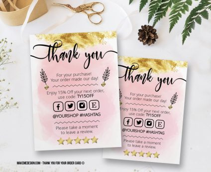 Thank You For Your Order, Thank You Card, Printable Insert Card Template, Ready To Print Thank You Card, Thank You Package Insert