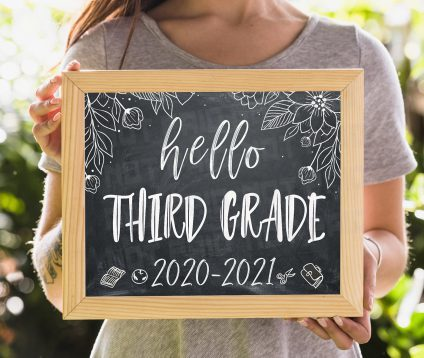 Hello Third Grade Sign, First Day of 3rd Grade, Printable First Day of School Sign, Chalkboard Sign, Third Grade Sign, Instant Download