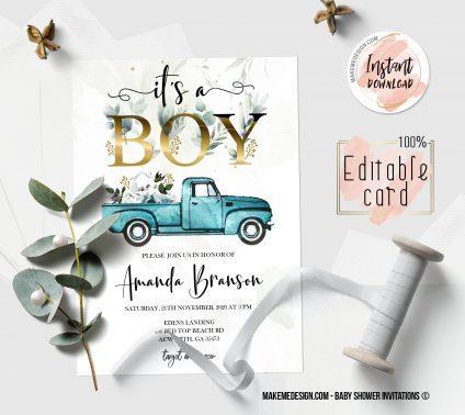 Pickup Baby Shower Boy Invitation, Digital Download, Baby Shower Template, Baby Shower Printable, OH BABY