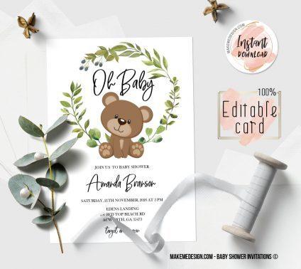 Bear Baby Shower Invitation, Digital Download, Baby Shower Template, Baby Shower Printable, OH BABY