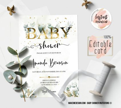 Greenery Gold Baby Shower Invitation, Digital Download, Baby Shower Template, Baby Shower Printable, OH BABY