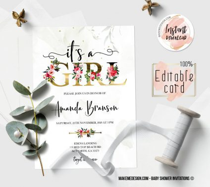 Girl Gold Floral Baby Shower Invitation, Digital Download, Baby Shower Template, Baby Shower Printable, OH BABY