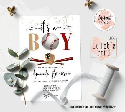 Baseball Baby Shower Invitation, Digital Download, Baby Shower Template, Baby Shower Printable, OH BABY