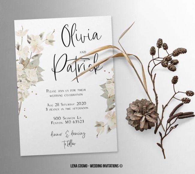 Floral Wedding Invitation, Wedding Suite, Wedding Announcement, Bohemian Invite, Aesthetic Wedding