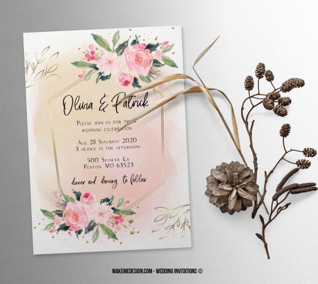 Pink Floral Wedding Invitation, Wedding Suite, Wedding Announcement, Bohemian Invite, Aesthetic Wedding