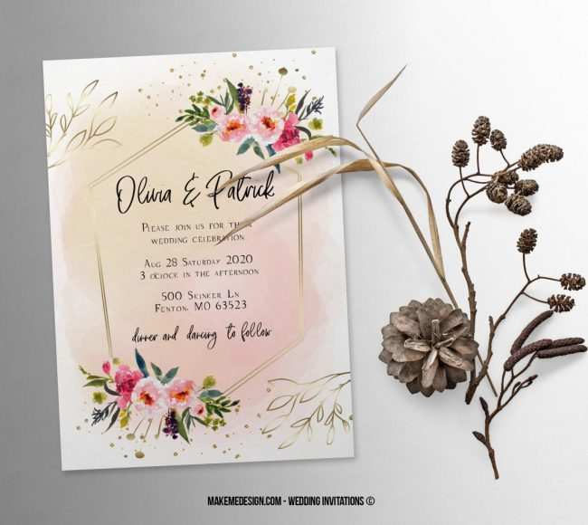 Floral Pink Wedding Invitation, Wedding Suite, Wedding Announcement, Bohemian Invite, Aesthetic Wedding