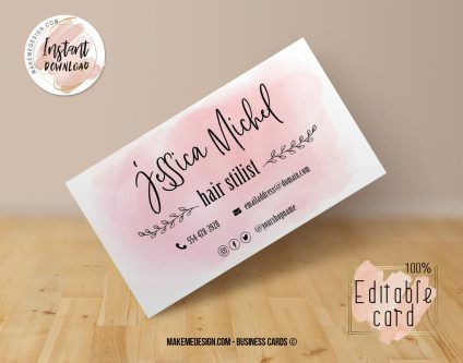 Pink Business Card, Design Business, Luxury Card, DIY Business Card, Editable Template