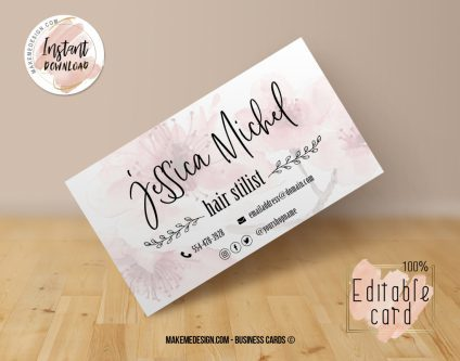 Floral Pink Business Card, Design Business, Luxury Card, DIY Business Card, Editable Template