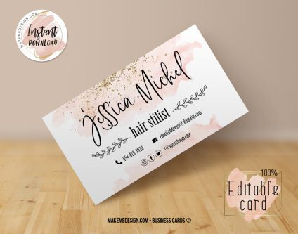 Pink Gold Business Card, Design Business, Luxury Card, DIY Business Card, Editable Template