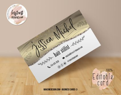 Gold Business Card, Design Business, Luxury Card, DIY Business Card, Editable Template