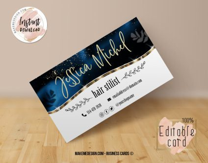 Blue Business Card, Design Business, Luxury Card, DIY Business Card, Editable Template