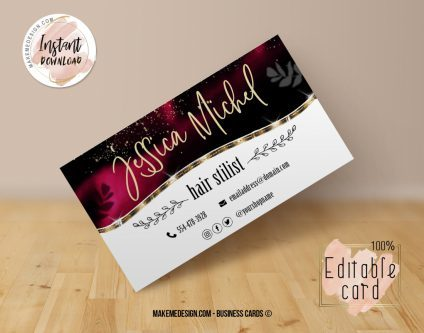 Ruby Business Card, Design Business, Luxury Card, DIY Business Card, Editable Template