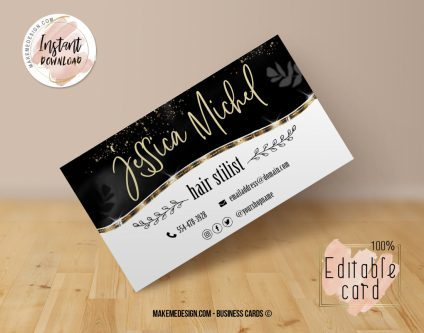 Luxury Black Business Card, Design Business, Luxury Card, DIY Business Card, Editable Template