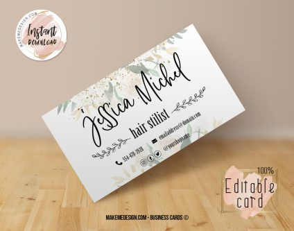 Minimalist Floral Business Card, Design Business, Luxury Card, DIY Business Card, Editable Template