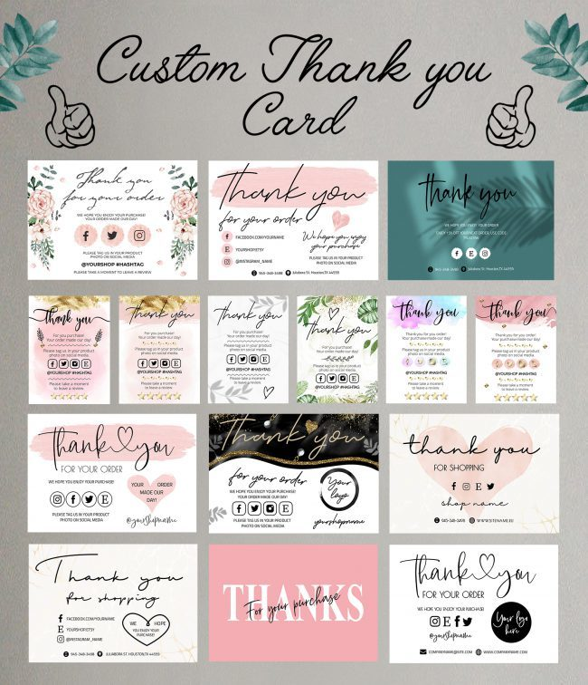 Custom Thank You Card, Personalized Thank You Card, Customized Thank You Card