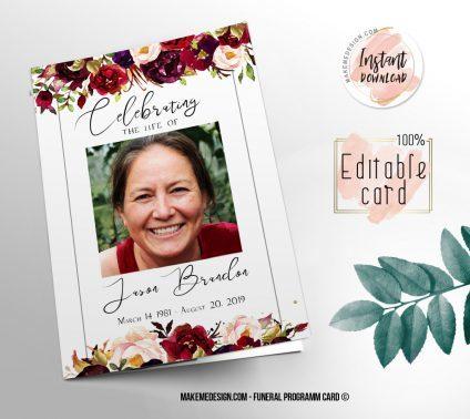 Rose Funeral Program, Editable Funeral Program Template, Memorial Program, Memorial Program Templett, Editable Memorial Service Template