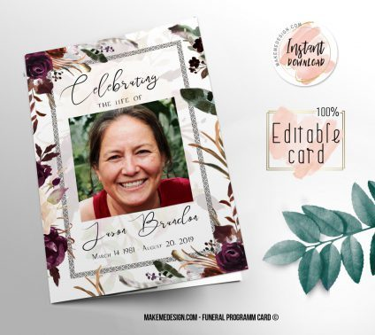 Floral Funeral Program, Editable Funeral Program Template, Memorial Program, Memorial Program Templett, Editable Memorial Service Template