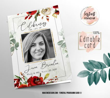 Red Rose Funeral Program, Editable Funeral Program Template, Memorial Program, Memorial Program Templett, Editable Memorial Service Template