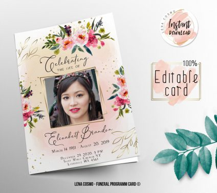 Pink Gold Funeral Program, Editable Funeral Program Template, Memorial Program, Memorial Program Templett, Editable Memorial Service Template