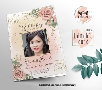 Pink Rose Funeral Program, Editable Funeral Program Template, Memorial Program, Memorial Program Templett, Editable Memorial Service Template