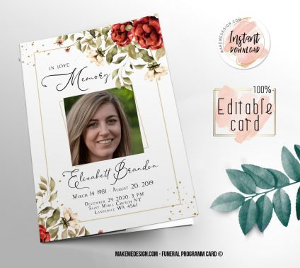 Red Flowers Funeral Program, Editable Funeral Program Template, Memorial Program, Memorial Program Templett, Editable Memorial Service Template