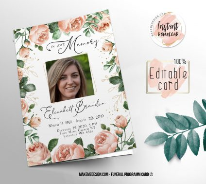 Pink Floral Funeral Program, Editable Funeral Program Template, Memorial Program, Memorial Program Templett, Editable Memorial Service Template