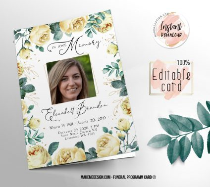 Yellow Floral Funeral Program, Editable Funeral Program Template, Memorial Program, Memorial Program Templett, Editable Memorial Service Template