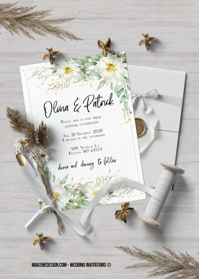 Greenery Wedding Invitation, Wedding Suite, Wedding Announcement, Bohemian Invite, Aesthetic Wedding