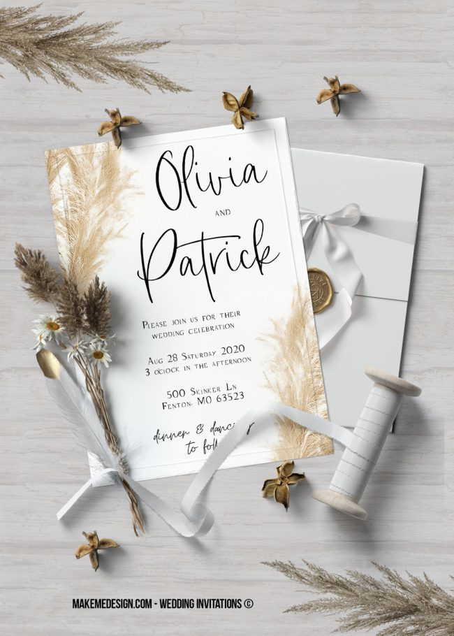 Pampas Grass Wedding Invitation, Wedding Suite, Wedding Announcement, Bohemian Invite, Aesthetic Wedding