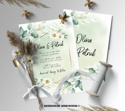 Greenery Gold Wedding Invitation, Wedding Suite, Wedding Announcement, Bohemian Invite, Aesthetic Wedding
