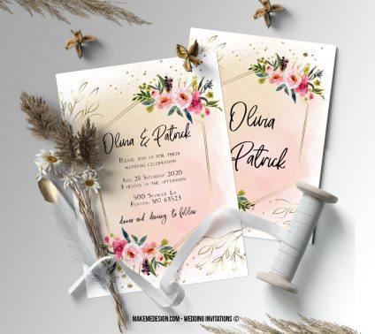 Floral Pink Wedding Invitation, Wedding Suite, Wedding Announcement, Bohemian Invite, Aesthetic Wedding