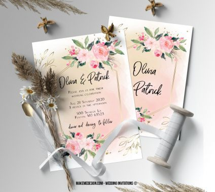 Pink Floral Wedding Invitation, Wedding Suite, Wedding Announcement, Bohemian Invite, Aesthetic Wedding