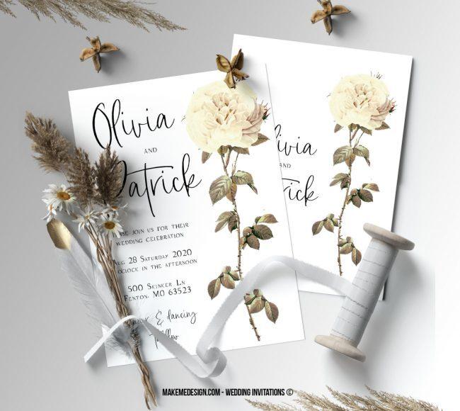 White Rose Wedding Invitation, Wedding Suite, Wedding Announcement, Bohemian Invite, Aesthetic Wedding