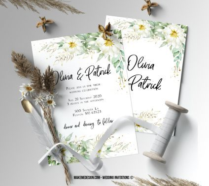 Greenery Wedding Invitation, Wedding Suite, Wedding Announcement, Bohemian Invite, Aesthetic Wedding