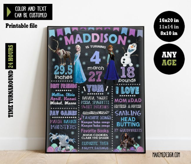Frozen Chalkboard Sign Birthday, Stats Board, Frozen Chalk Board Poster, Printable Birthday Milestone Chalkboard, Frozen Birthday Custom Chalkboard Poster Sign