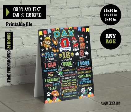 Paw Patrol Chalkboard Sign Birthday, Birthday Party Chalk Board, Paw Patrol Birthday Sign, Birthday Poster, Paw Patrol Birthday Milestones